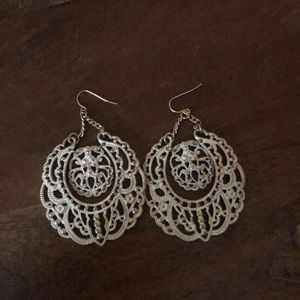 White Large Chandelier Style Statement Earrings